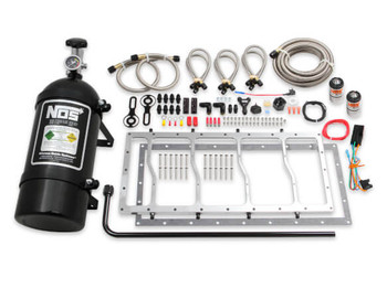 NOS Dry Nitrous Plate System for Sniper LS Race Series Manifold - 10lb Black Bottle w/ Silver Plate 05503NOS