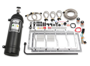 NOS Dry Nitrous Plate System for Sniper LS Race Series Manifold - 15lb Black Bottle w/ Silver Plate 05504NOS