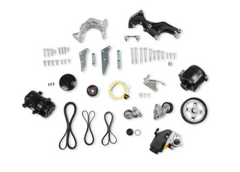 Holley LS Low Mount Accessory Drive System w/ Alternator, P/S & A/C 20-162BK