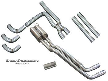 "Speed Engineering 3"" True Dual Rear Exit Exhaust X-Pipe/ Muffler Kit for 1999-18 Single Cab Silverado/Sierra 25-1006+08+03"