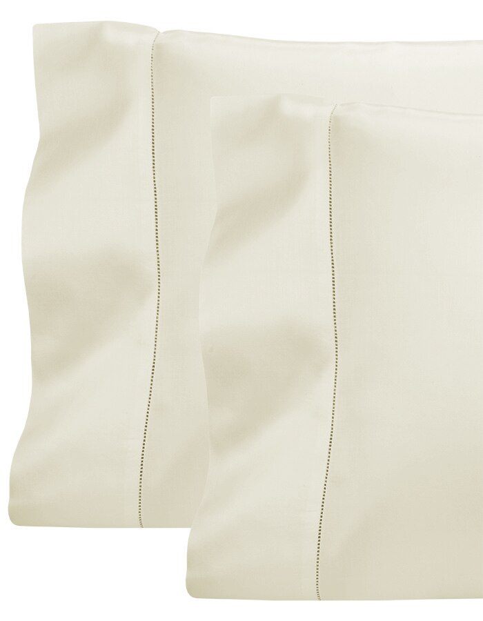 Ivory - Luxury Pillowcases, sold in pairs, finished with hemstitching on the flange.