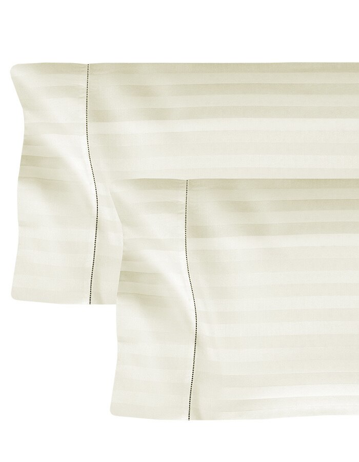 Luxury tone-on-tone stripe pillowcases. Made from Long Staple Cotton, sateen.