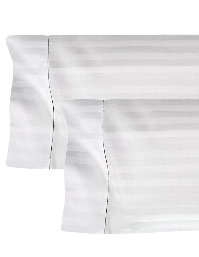 """Righetta pillowcases are finished with a 4"""" hemstitched flange on the cuff."""