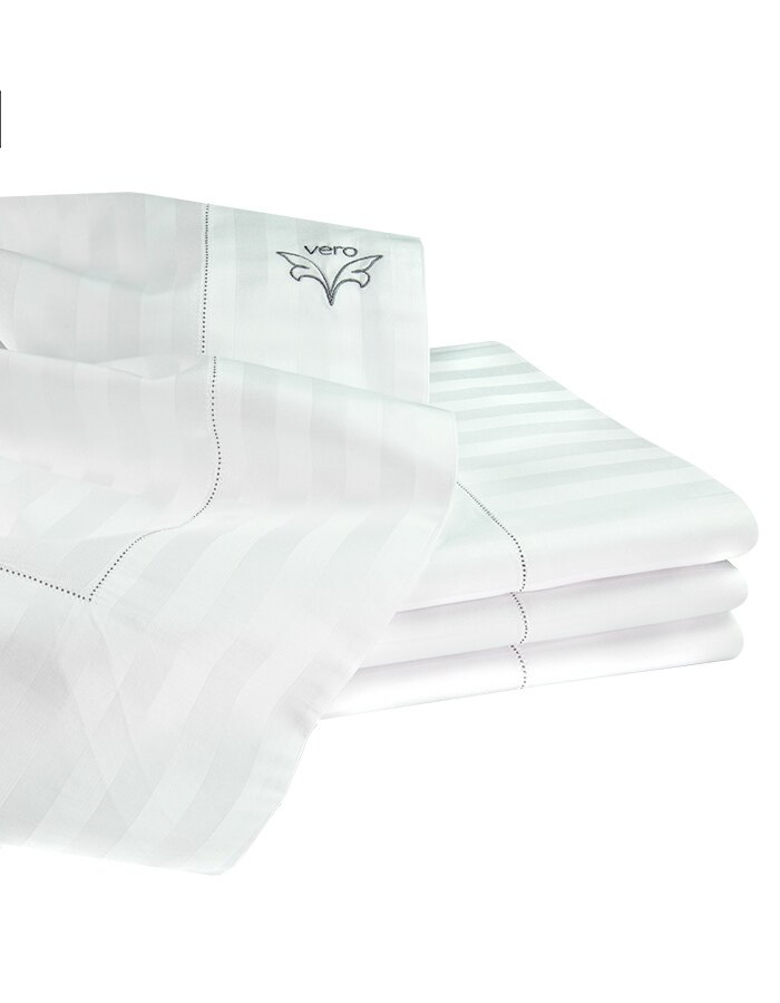 White - classic tone on tone striped 100% cotton sateen.