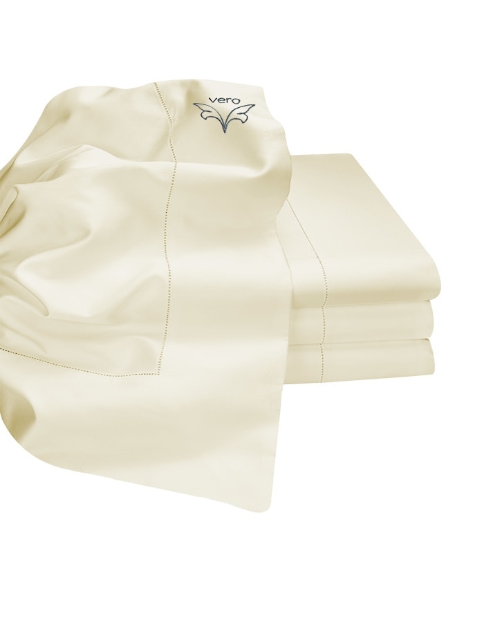 Ivory - Luxurious handcrafted Italian flat sheet. Available in King & Queen size.