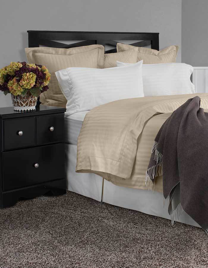 """Vero Righetta collection is available in white, ivory & sable. Righetta is a tone-on-tone 100% cotton sateen. Fitted sheets are made with a 17"""" extra deep, fully elasticized pocket."""