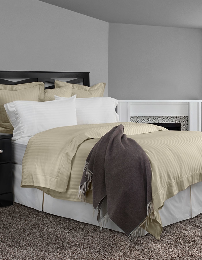 Righetta is classic tone-on-tone stripe, available in white, ivory & sable, in sheets, pillowcases, duvet covers and shams.  Made in Italy.