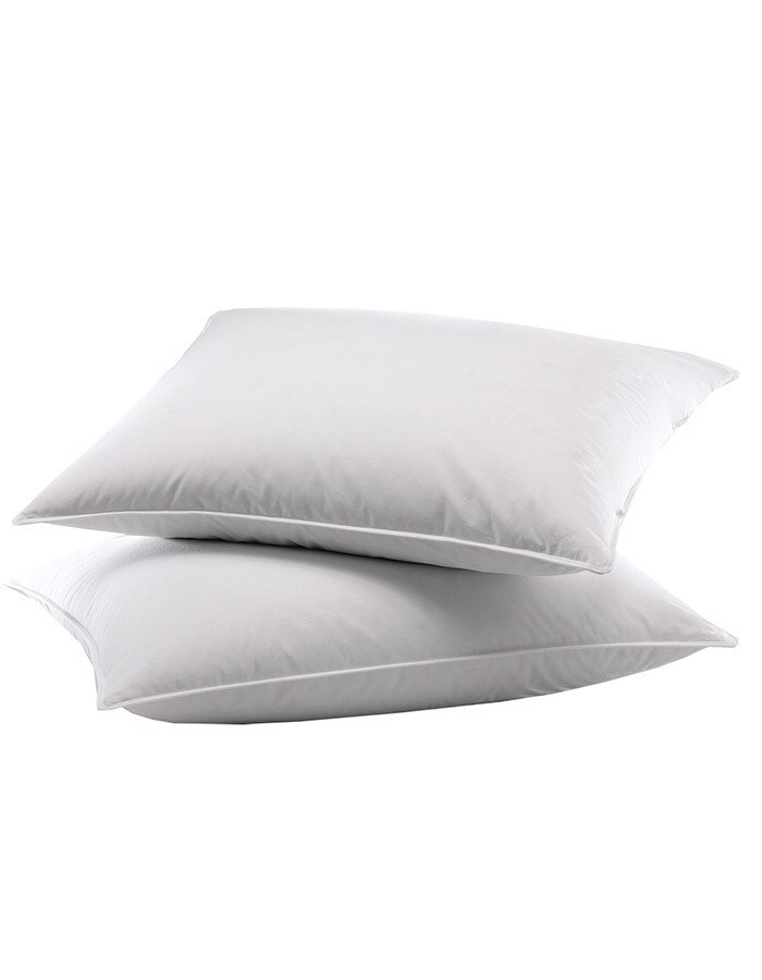 """Our feather sleeping pillows provide excellent neck and head support. Exceptionally priced they are great to sleep on or to fill a decorative sham. Our feather pillow inserts are available in Standard size 20"""" x 26, King 20"""" x 36"""" and Euro 26"""" x 26"""" size."""
