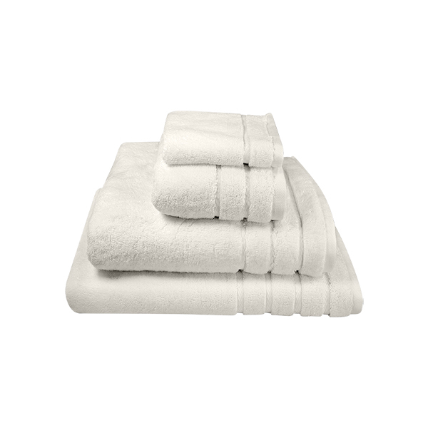 700 Gram per square meter weight. Color fast, available in white, ivory, Granite and pewter. Shown here are our Ivory towels.
