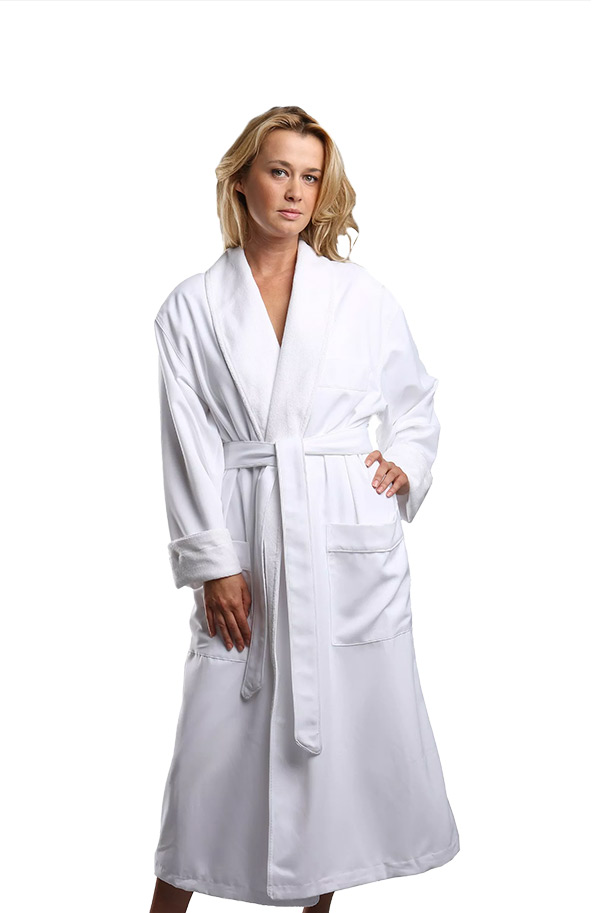Luxury Microfiber - terry Spa robes.  Shown here in white. Microfiber shell and soft absorbing terry lining. Available in white , natural and stone.