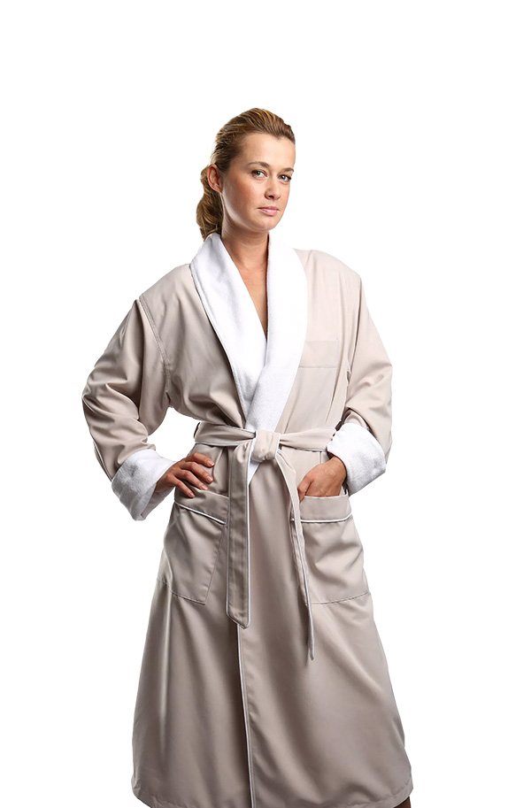 Soft and absorbent, hotel spa robes. Available in small, medium, larger and extra large. Shown here is our stone color.