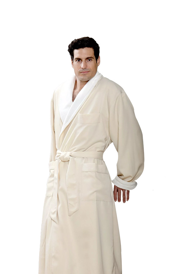 Our Unisex robes are perfect for both a man or woman. Shown here is our natural color. Available in S, M, L, and XL.