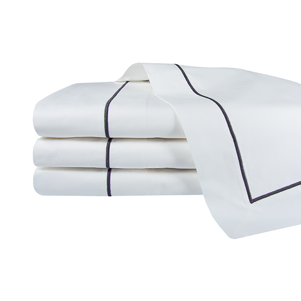Shown here is our Olivia duvet cover with grey embroidery.