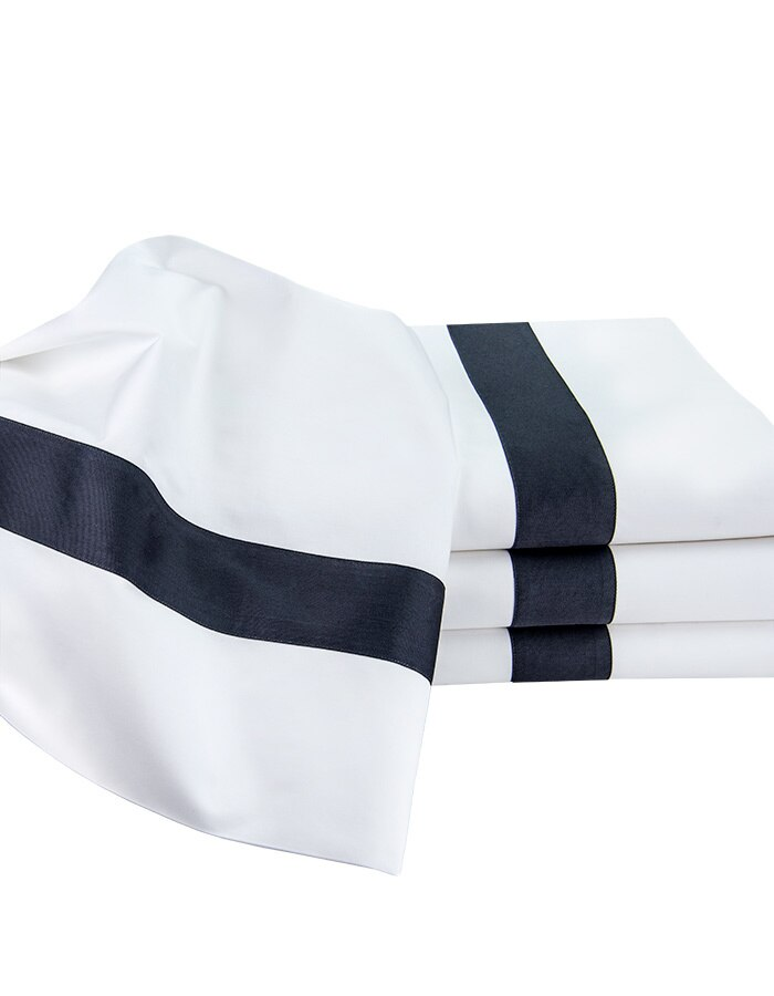 """Handcrafted Italian Percale Cotton flat sheets. Trimmed with 2"""" charcoal band. Available in king & queen size. Use King on Cal-king & queen on full size mattresses."""