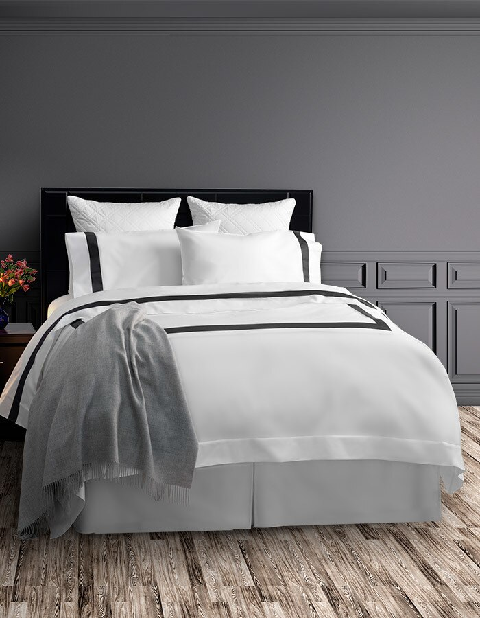 Shown here is a complete Ava ensemble, duvet cover, flat & fitted sheet and pillowcases. Made from 100% long staple cotton.
