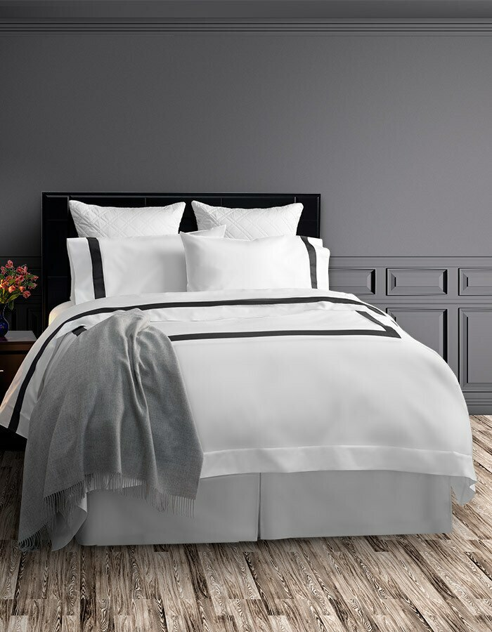 Shown here is a complete Ava ensemble - extra deep fitted sheet, flat sheet, pillowcases and duvet covet.