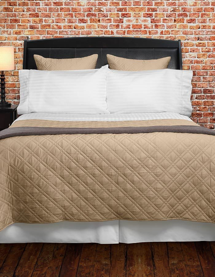 Quilted in a classic lattice pattern. The perfect finish to any bed and bedroom decor