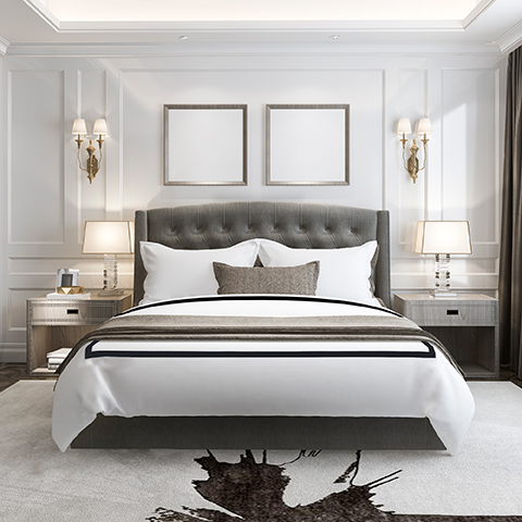 """Ava Duvet covers, available in white with a 2"""" charcoal grey applique. Available in king and queen size. Use king size with California king and queen with full size bed. Woven and sewn in Italy from long staple cotton. Finished with 4"""" flange giving extra coverage of today's thicker mattresses."""