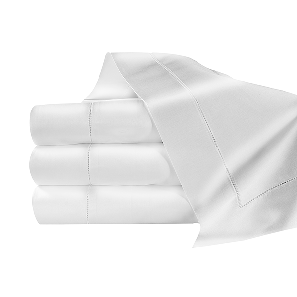 300 Thread count solid white sateen flat sheets. Made in Italy. Made from Long Staple Cotton. Woven and sewn in Italy.