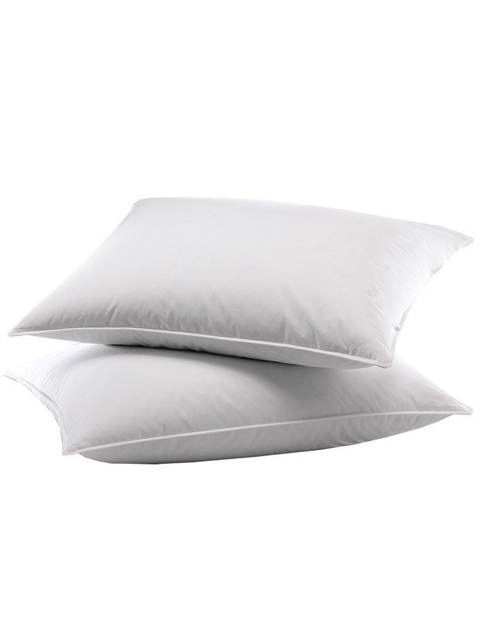 Hypoallergenic Poly Filled Sleeping Pillow. Overstuffed and supportive. Machine washable.