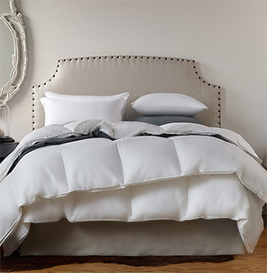 Baffle box down comforter shown on a bed