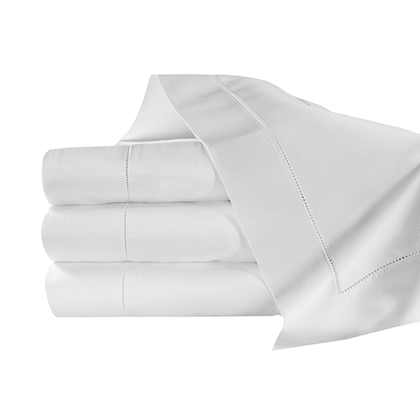 Diamante Sateen sheets in white. Extra Long Staple cotton. Finished with an elegant hemstitch detail. Handcrafted in Italy.