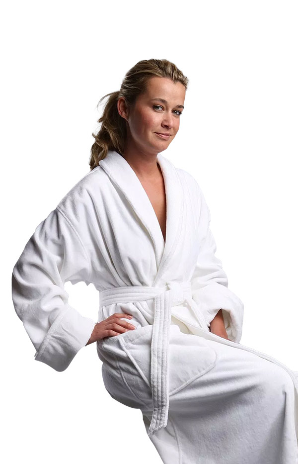 Luxury Plush Terry Robes - available in white. Soft and Absorbent