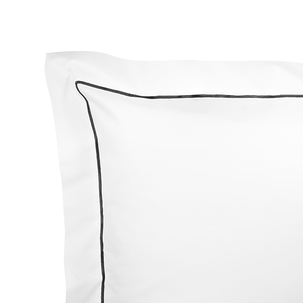 Show here is our white/gray Euro sham. Finished with a single line of embroidery. Shams are available in Euro, King and Standard sizes.