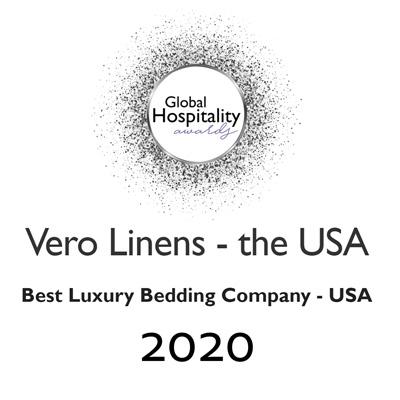 VeroLinens award from Lux 2020 Best Luxury Bedding Company