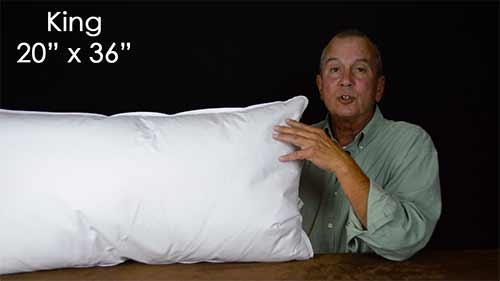 King Size Sleeping pillows are 20 x 36
