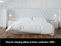 Luxury down sleeping pillows and baffle box down comforters