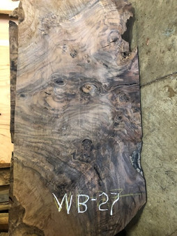 "Walnut Burl  Mini-Slab   WB-27x   (2"" x 19"" x  41"")"