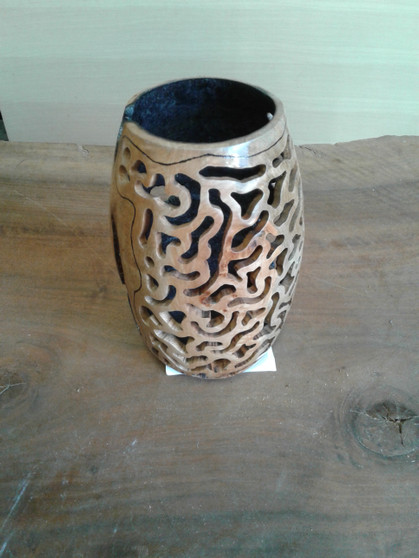 """Maple Burl Carved and Burnt Hollow Form CH-4 (5""""x5""""x9"""")"""