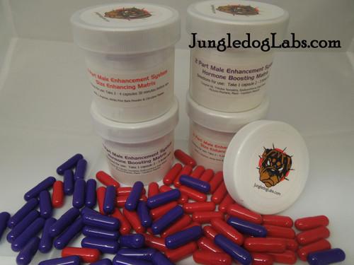 Hormone Boosting Matrix contains - Epimedium (horny goat weed), Macuna Pruriens, Maca, lepidium meyenii & Tongat Ali. Size Enhancing Matrix contains - AAKG, L Arginine, Citruline Malate & White Pine Bark Powder.