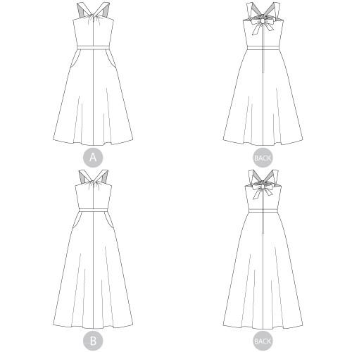 3b0f06b32ea02 ... Lonsdale Dress by Sewaholic Patterns, Line Drawings of View A & B