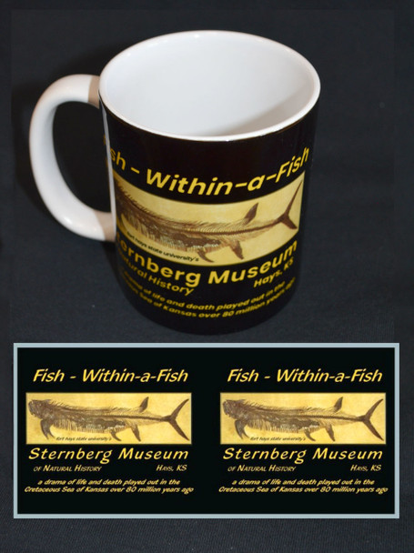 "Ceramic mug featuring full-color image of the world-famous ""Fish-within-a-fish"" fossil. Images on both sides."
