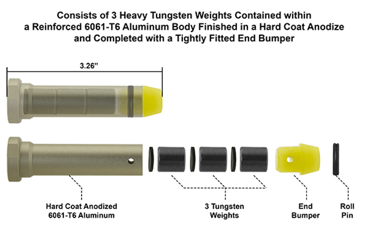 UTG H3 Heavy Buffer, Hard Coat Anodized