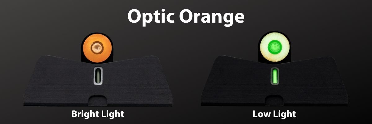DXT2 in Optic Orange, bright and low light comparison