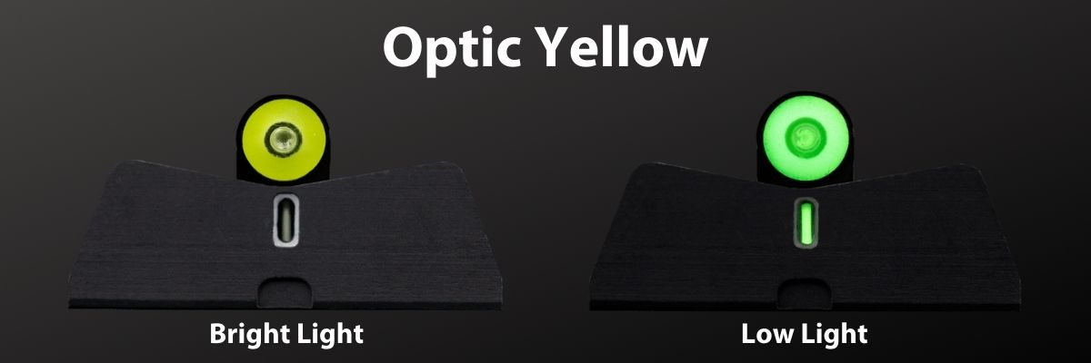 DXT2 in Optic Yellow, bright and low light comparison
