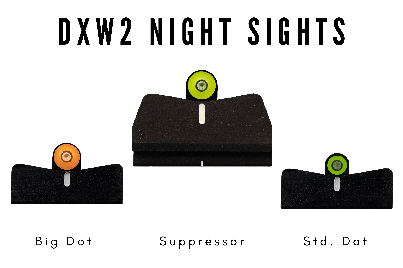 DXW2 options, Big dot, suppressor height, standard dot