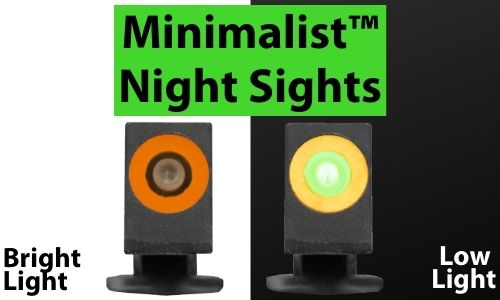 Minimalist front sight comparison in bright and low light