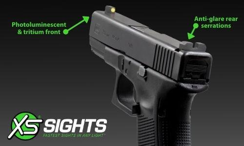 minimalist on a glock, glowing in low light