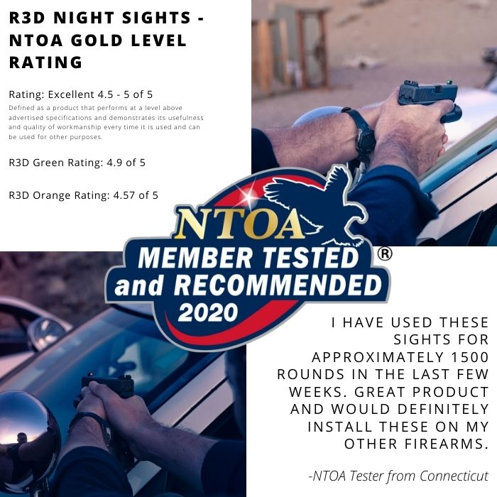 R3D Night Sights recieve the Gold rating from the members of the NTOA for 2020 excellence