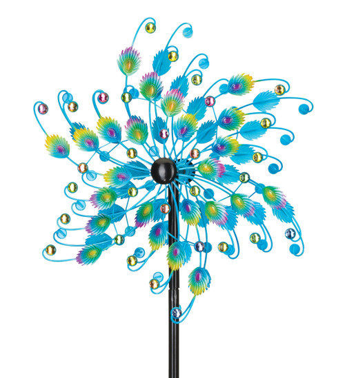 "24"" Kinetic Garden Whirligig - Jeweled Peacock"