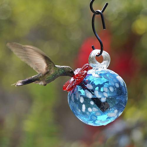 Round - Top Feed Handblown Glass Hummingbird Feeder