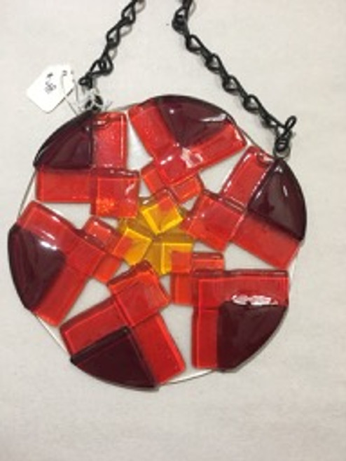 "6"""" Diameter Hanging Fused Glass Medallion"