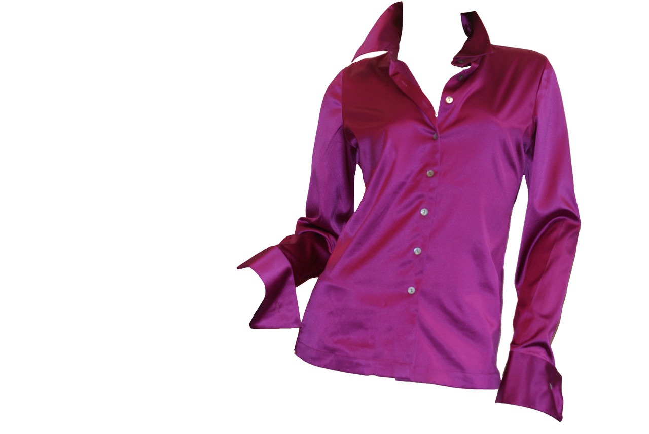 03e70391da9f4 Ladies Elegant Stretch Silk Charmeuse Fitted Button Shirt Blouse ...