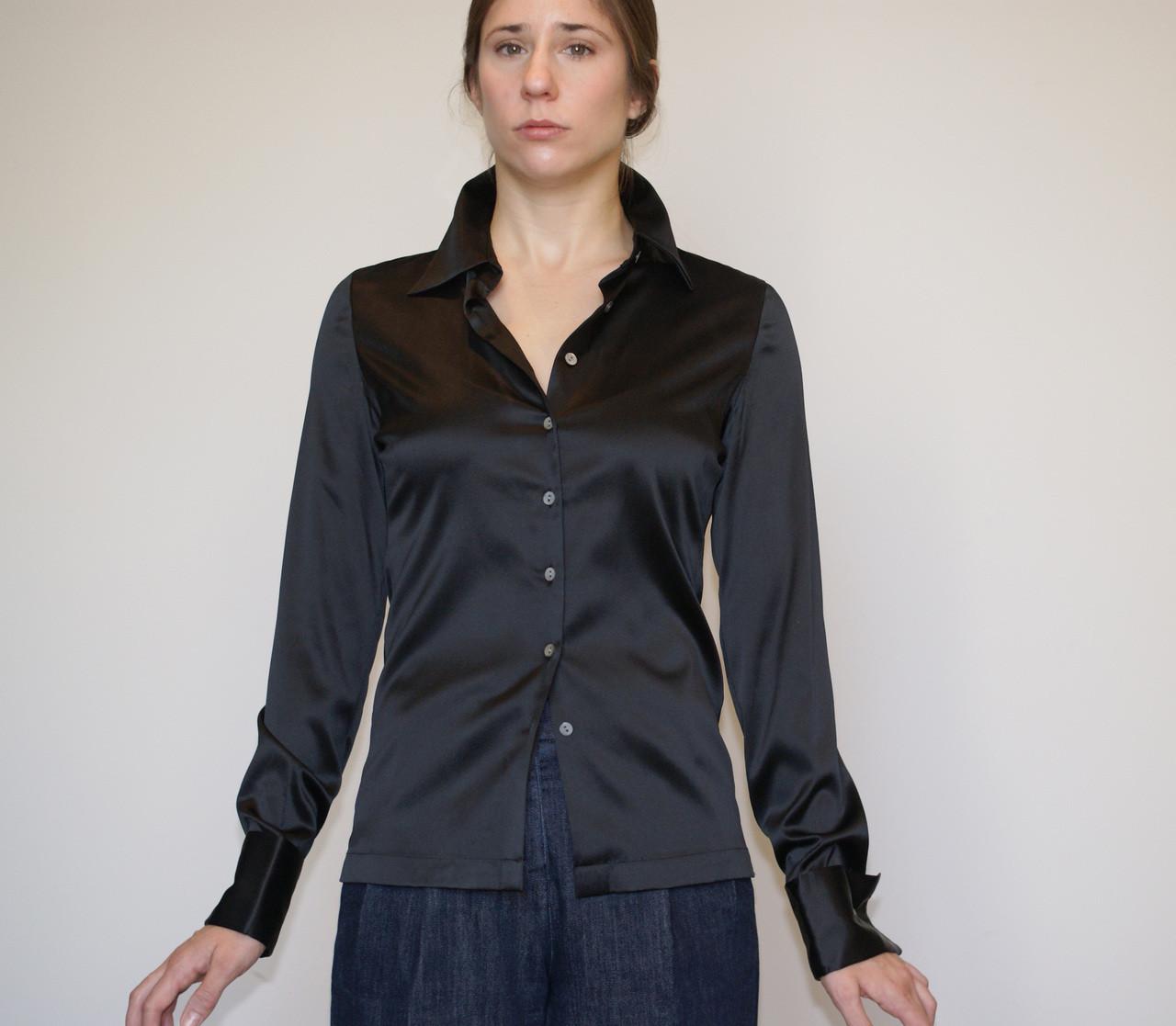 Women S Black Silk Charmeuse Button Up French Cuff Tuxedo Shirt Blouse