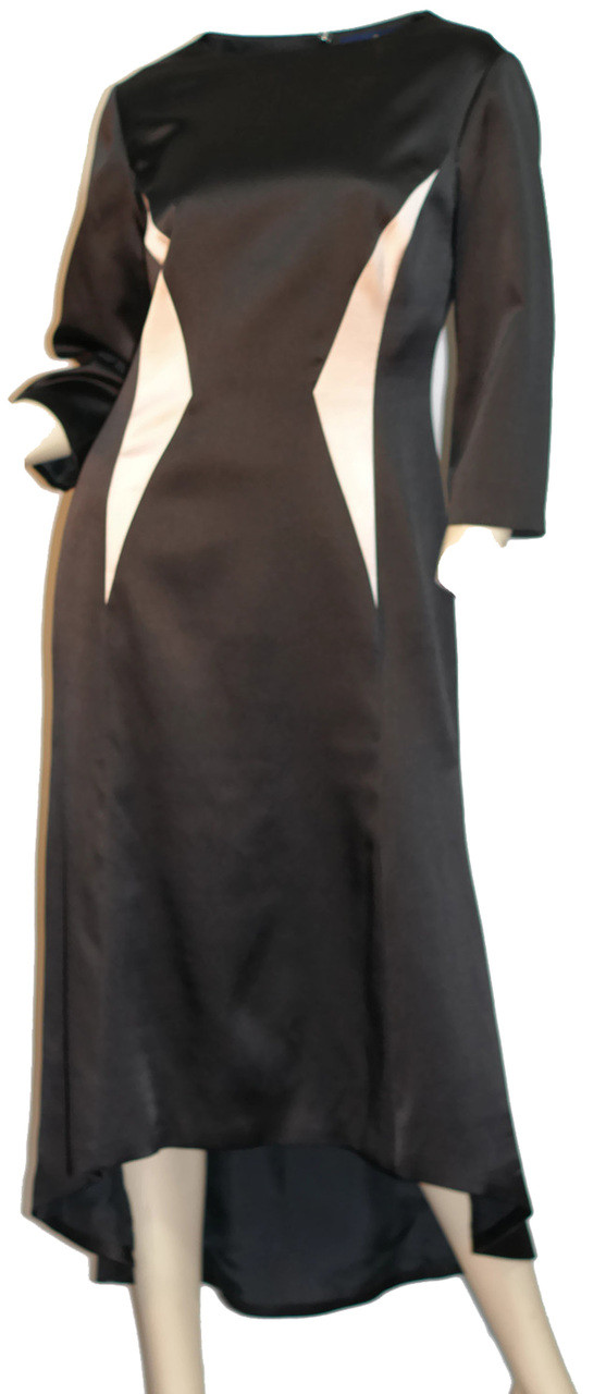 Womens Elegant Structured Black 100 Silk High Low Fit Flare Dress