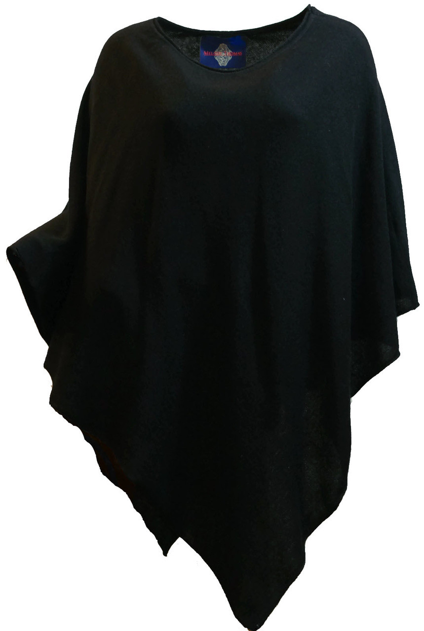 6ab793495 Women's Black 100% Cashmere Sweater Knit Poncho Top